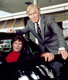 Pictured: K.I.T.T., David Hasselhoff as Michael Knight, Edward Mulhard as Devon Miles